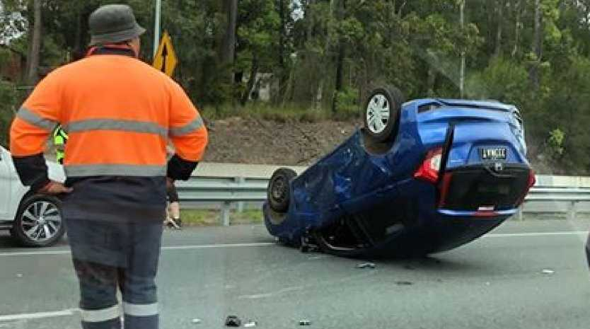 A lane of the M1 northbound has been closed after a two vehicle accident this morning. Picture: Supplied.