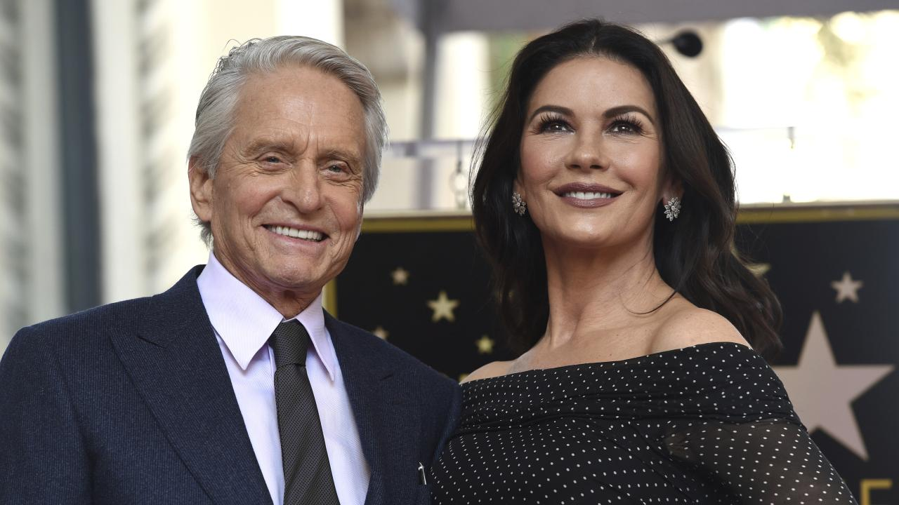 Long-married couple Michael Douglas, left, and Catherine Zeta-Jones. Picture: AP