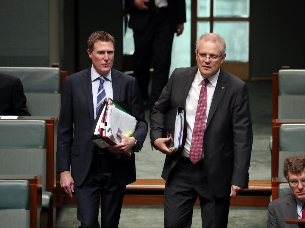 Attorney-General Christian Porter with Prime Minister Scott Morrison during Question Time. Picture: Gary Ramage