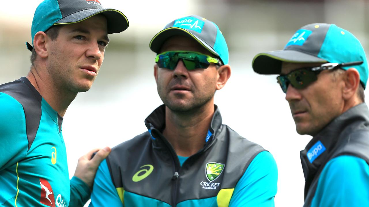 Australian captain Tim Paine, Ricky Ponting and coach Justin Langer.