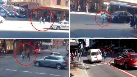 Pedestrians caught in near misses with traffic in Brisbane's CBD.
