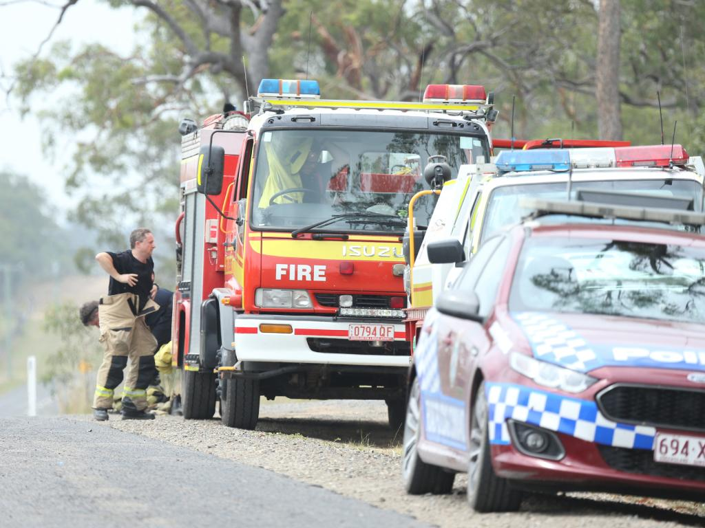 Fire crews from the Wartburg rural fire station prepare  to hit the road. Picture: Mark Cranitch