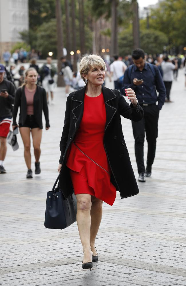 Former foreign minister Julie Bishop at Circular Quay on Tuesday after a speaking engagement at Cockatoo Island. Picture: David Swift