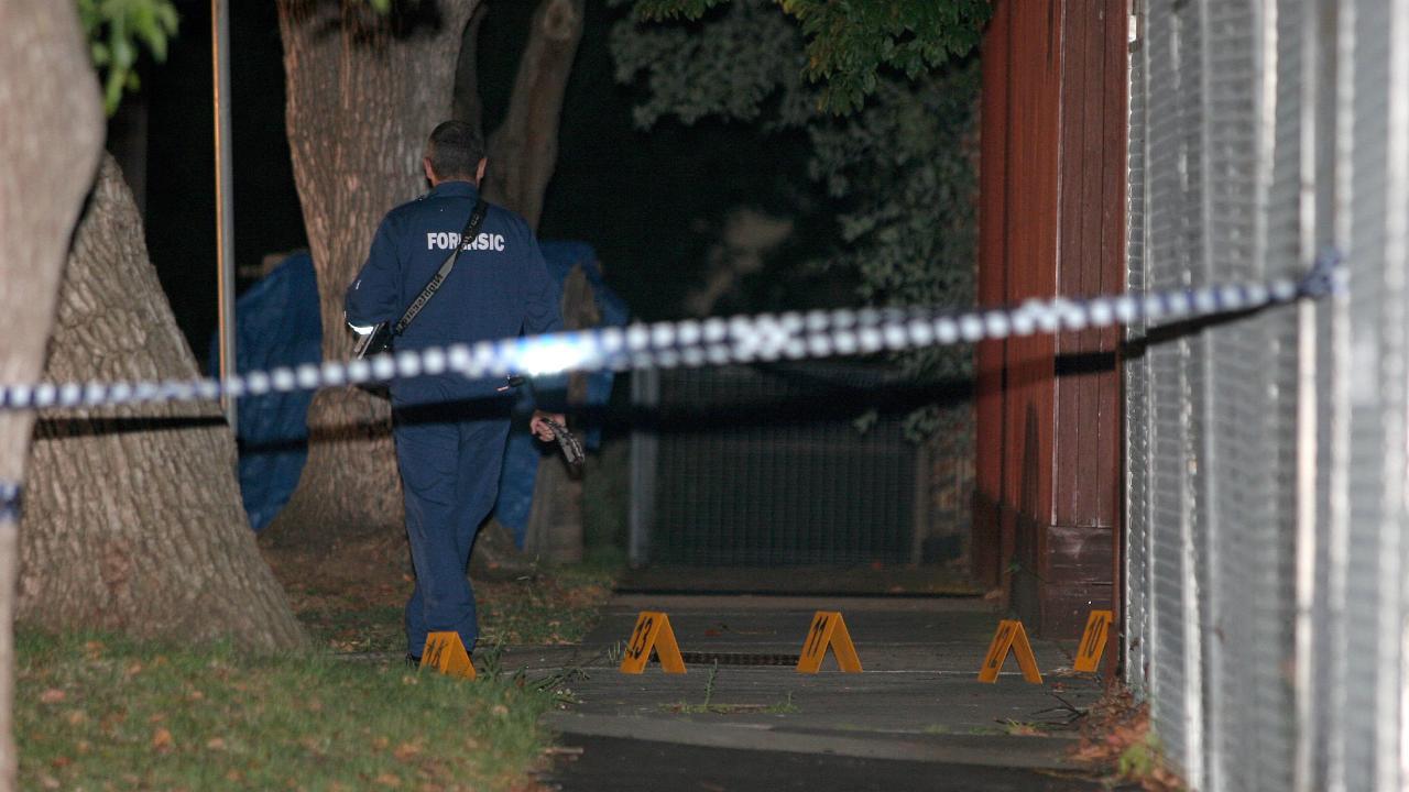 The murder scene outside Condello's East Brighton home.