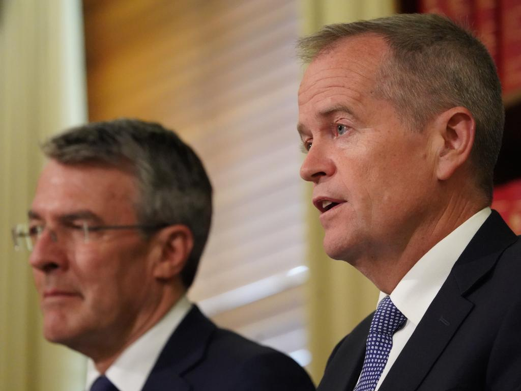 Leader of the Opposition Bill Shorten (right) and Shadow Attorney-General Mark Dreyfus. Picture: AAP