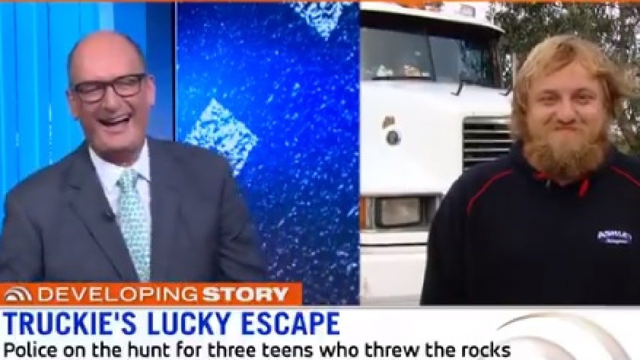 Truckie who cheated death when a 12kg rock was thrown at his rig from an overpass asked his boss's daughter out live on Sunrise