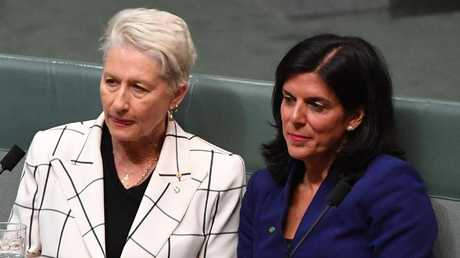 Julia Banks joins the new independent Member for Wentworth Kerryn Phelps on the cross bench after Banks' stunning resignation from the Liberal Party. Picture: Mick Tsikas/AAP