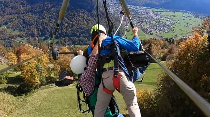 The US man's hang gliding experience was next level terrifying. Picture: Youtube/Gursk3