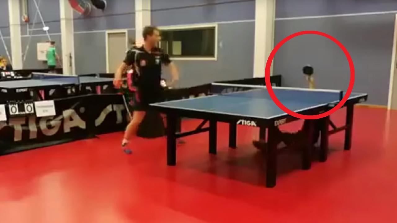 Teenager Christopher Chen delivers the table tennis shot that's been screened around the world
