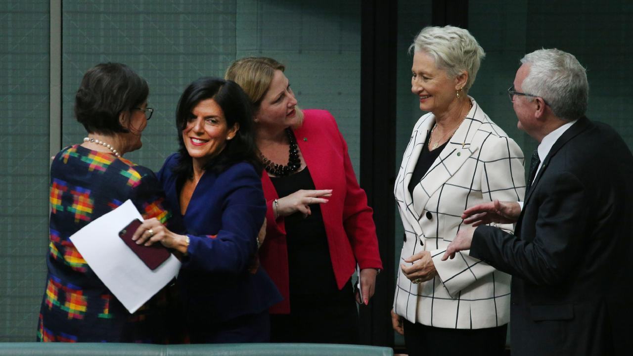 The Independents, Cathy McGowan, Rebekha Sharkie, Kerryn Phelps and Andrew Wilkie welcome new crossbencher Julia Banks. Picture: Gary Ramage