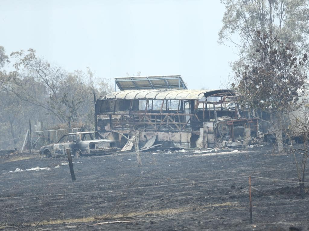 Devastation caused by the bushfires at Deepwater. Picture: Mark Cranitch.