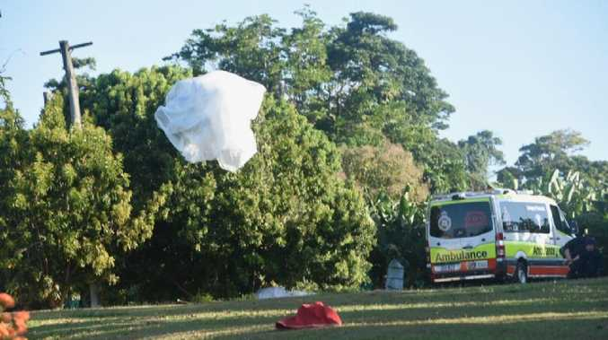 A parachute caught up in a tree on Alexander Drive, Mission Beach where one person fell to their death in a skydiving accident. Pic: CHRIS HOLMES, INNISFAIL ADVOCATE