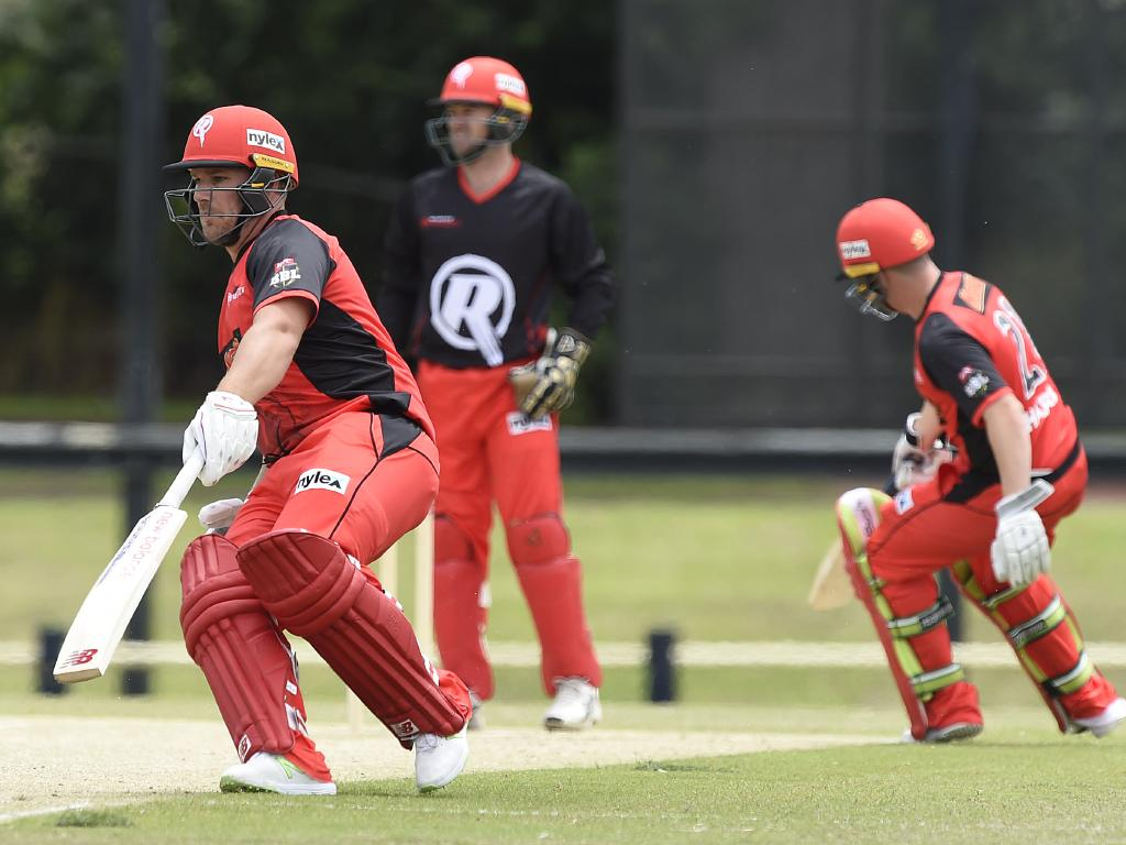 Aaron Finch and Marcus Harris batting together at a Melbourne Renegades practice match. Picture: Alan Barber