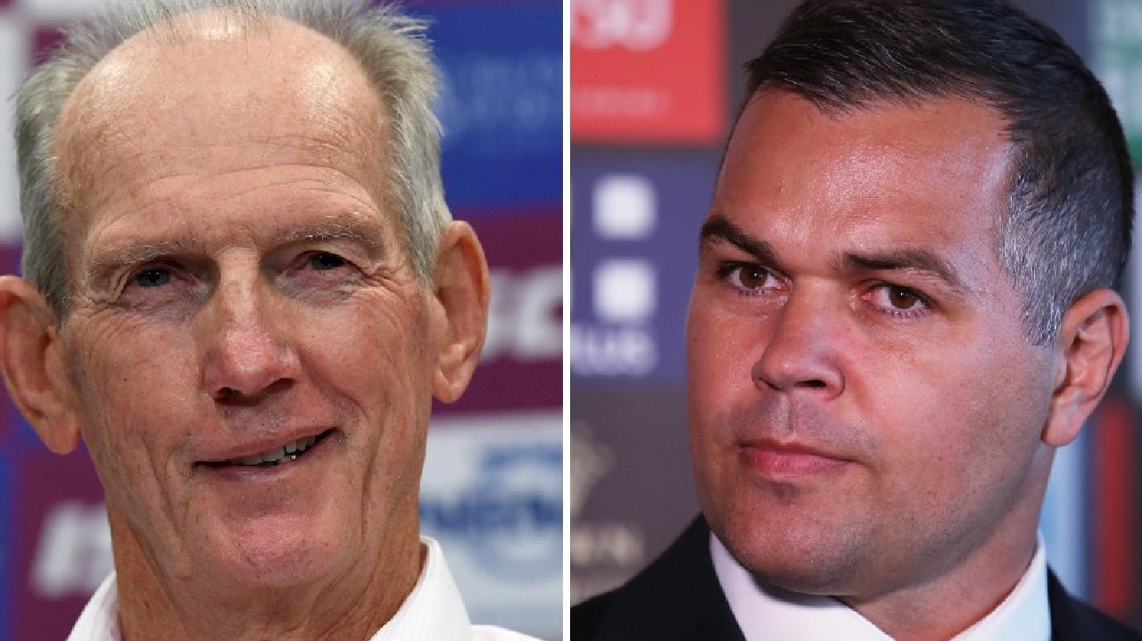 Wayne Bennett and Anthony Seibold. Photo: Courier Mail