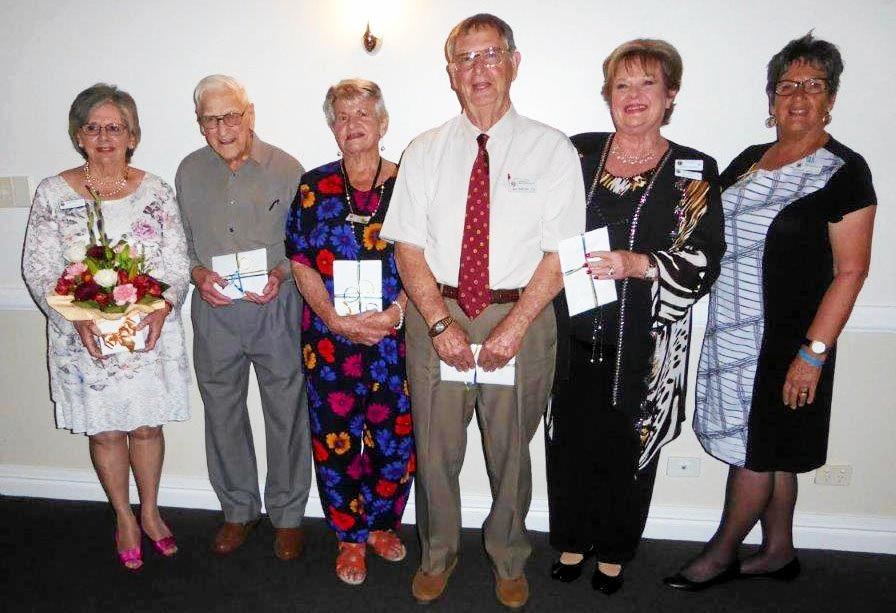 Redcliffe City Mixed Probus club members (left to right): Susan Hearfield, Ed May, Darryl Webb, Max Barton, OAM Jenny Russo and Rosemary Levack.