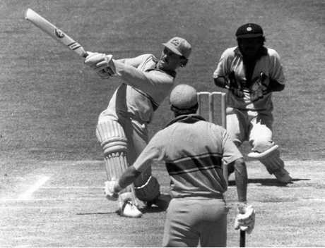 Allan Border hits out during a one-day international.  (Pic: Marc Fallander)