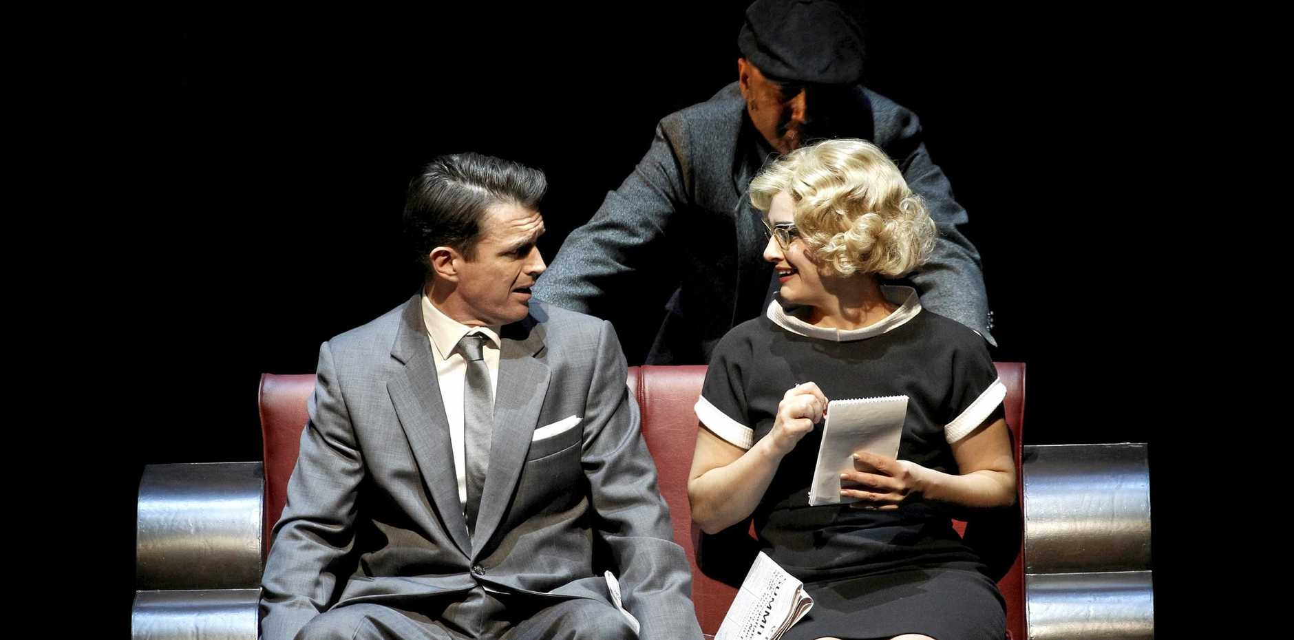 Matt Day and Amber McMahon in a scene from the play North by Northwest.