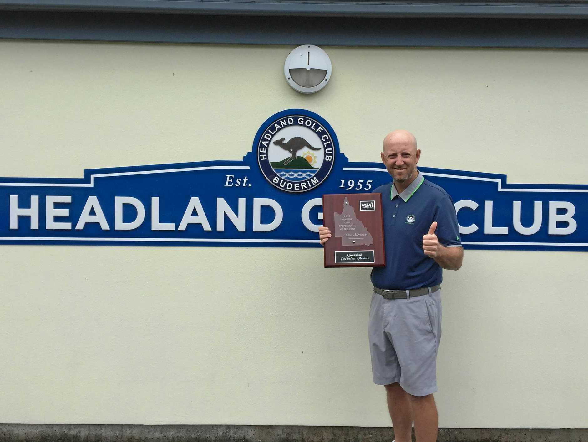 HONOUR: Headland Golf Club's Adam Norlander won the Australian PGA club professional of the year on Tuesday night.