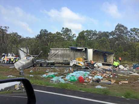 A passing motorist shares photos of the truck wreckage on the Bruce Hwy, Bells Creek.