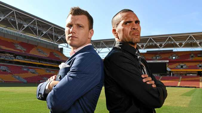 Australian boxers Jeff Horn (left) and Anthony Mundine will clash in a catchweight fight at Suncorp Stadium tomorrow night.