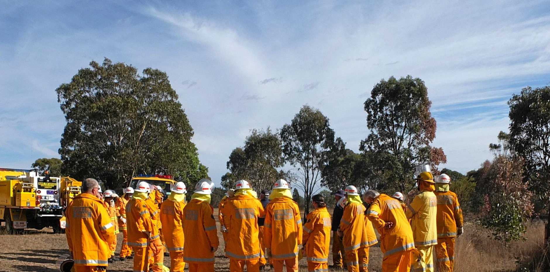 DRY GROUNDS: The Rural Fire Brigade at work.