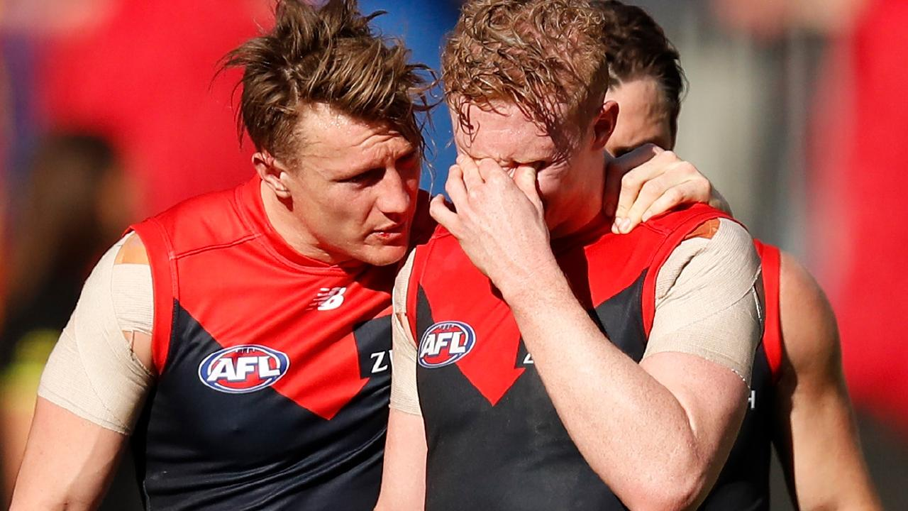 Aaron vandenBerg and Clayton Oliver felt the pain after the Demons' preliminary final exit. Pic: Getty Images