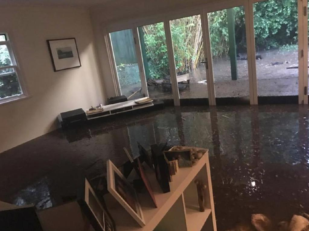 The Gleeson family woke to find their entire back yard, living room and kitchen flooded on Wednesday morning in Cammeray. Picture: Facebook
