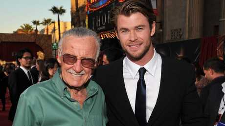 Stan Lee and actor Chris Hemsworth at the LA premiere of Thor in 2011. Picture: Lester Cohen/Getty