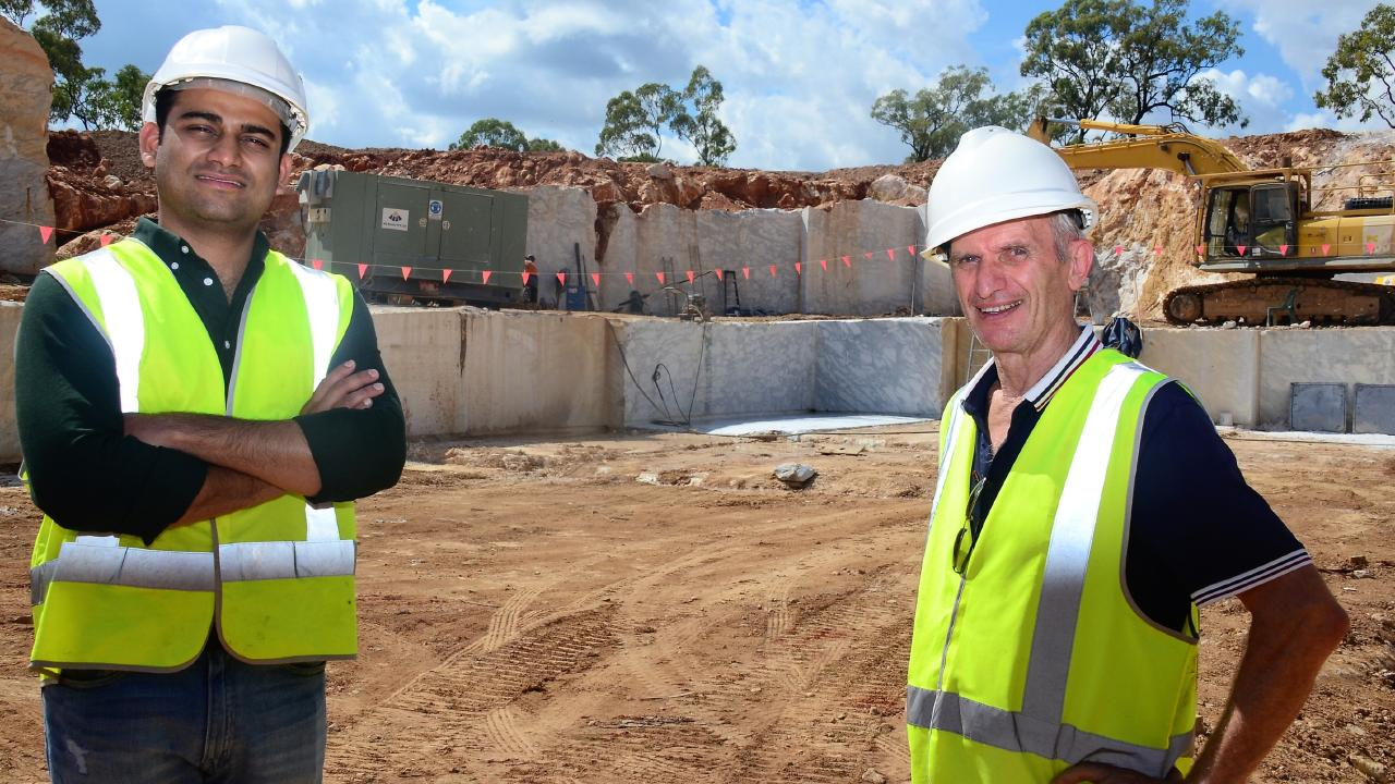 Indian marble buyer Sahil Aggarwal with Townsville quarry owner Larry Roccasino at the Greenvale site. Photo: John Andersen