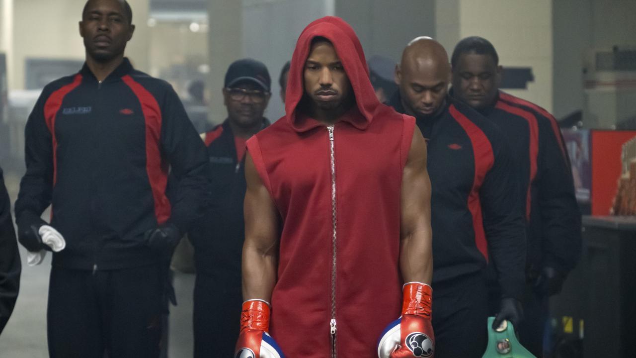 Michael B. Jordan in a scene from Creed II.