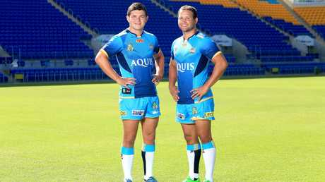 Ash Taylor and Tyrone Roberts in 2016. Picture: Tim Marsden