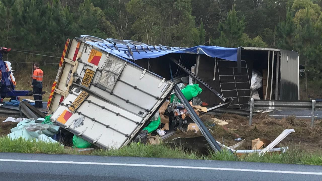 The truck rollover at Landsborough. Picture: Bruce Long