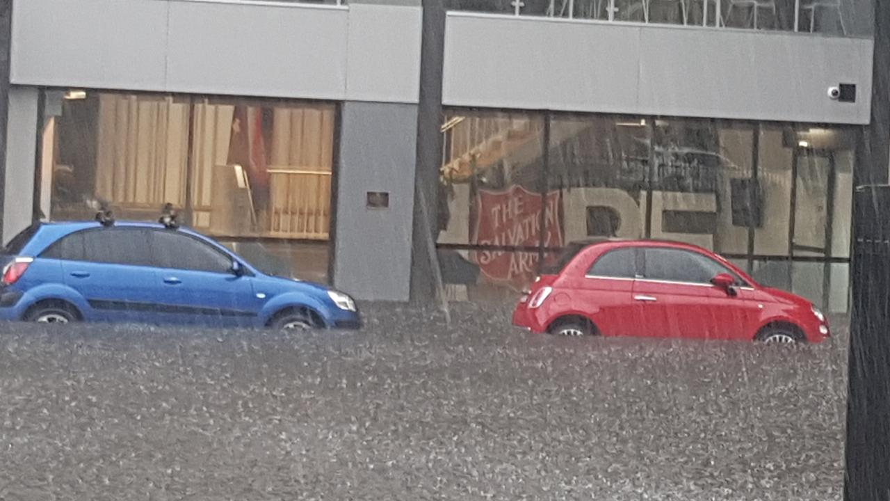 Submerged cars in Redfern, in Sydney's inner south.