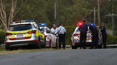 Police at the scene of a shooting at a property in Pimpama. Photo: Regi Varghese