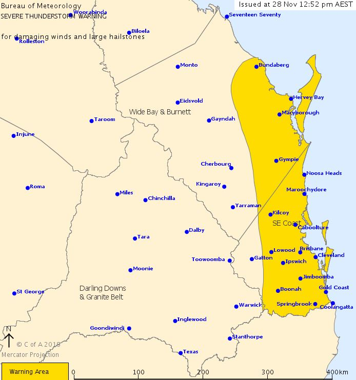Severe thunderstorms are likely to produce damaging winds and large hailstones in the warning area over the next several hours. Locations which may be affected include Gold Coast, Brisbane, Maroochydore, Gympie, Bundaberg, Caboolture, Coolangatta and Ipswich.