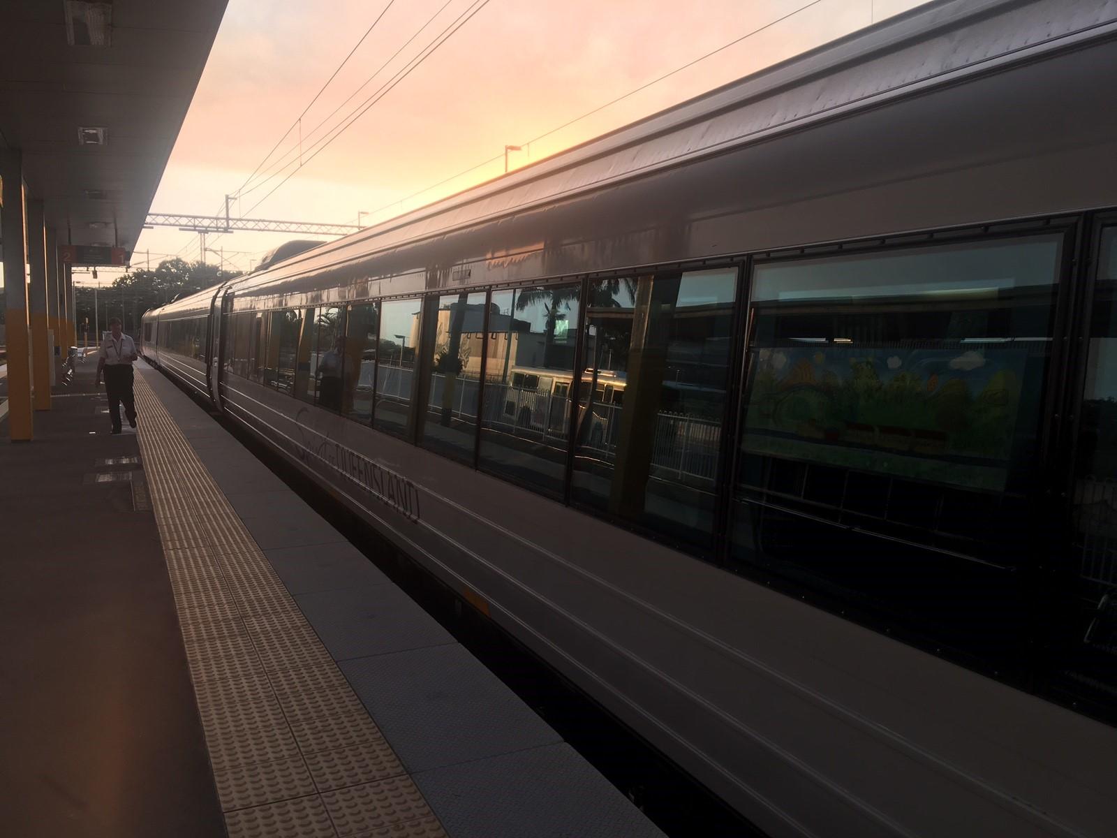 The northbound tilt train that will stop at Bundaberg after devastating fires forced track closures between Mackay and Bundaberg.