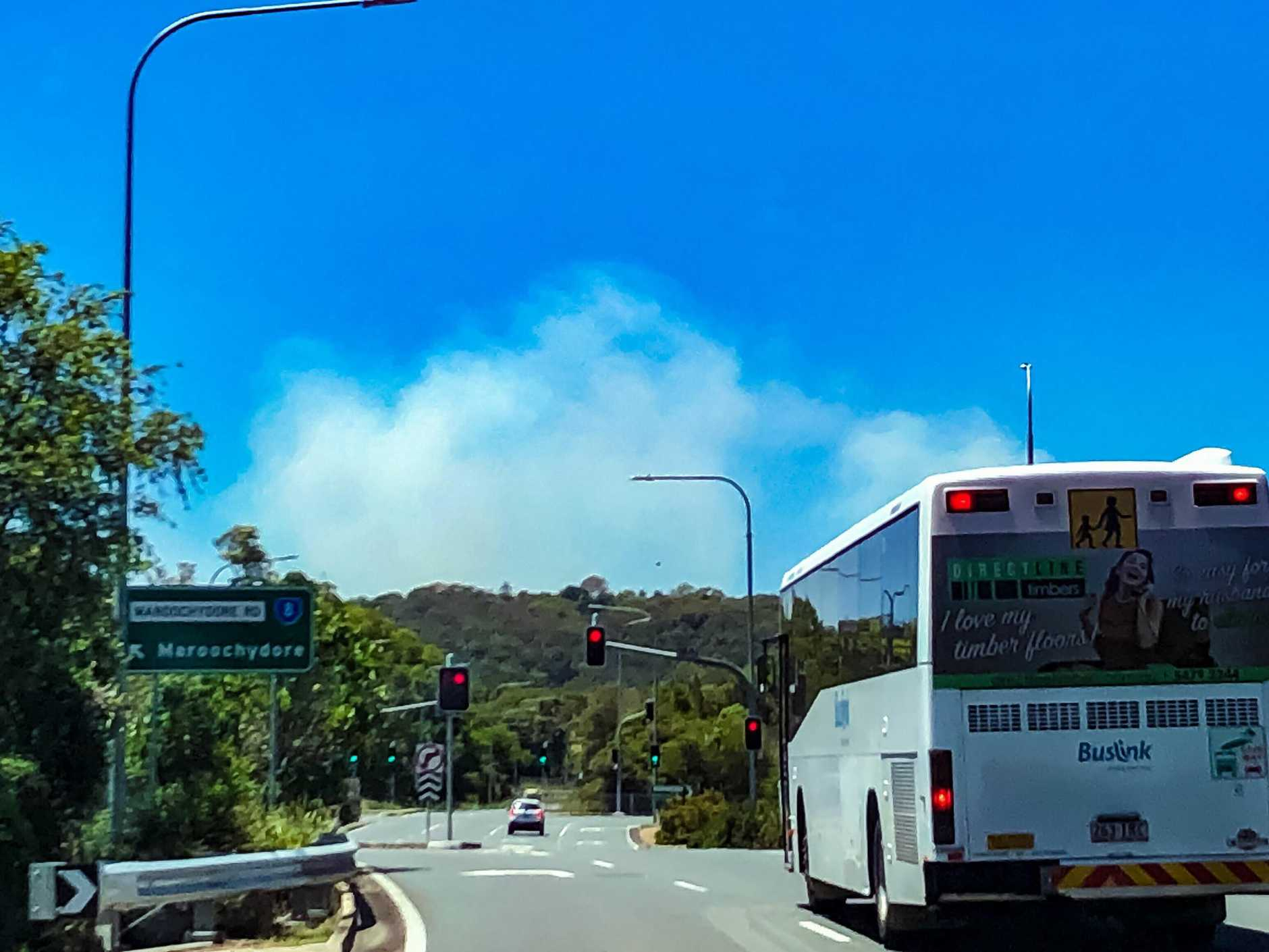 Strong winds have pushed smoke from the Caloundra bushfire towards Mountain Creek, Buderim and Sippy Downs. Photo: Jade-Ellen Leak