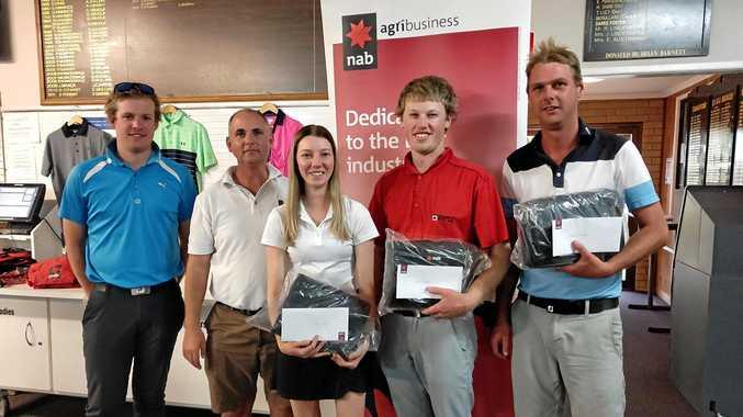 KEEN GOLFERS: Sam McLennan, Paul Swift, Justine Washbourne, Kris McLennan and Steve Klease at the recent NAB Charity Golf Day.