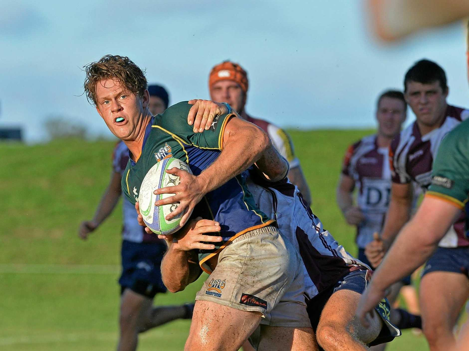 RUGBY: University of the Sunshine Coast v Noosa. USC's Jacob Mabb looks to off load.