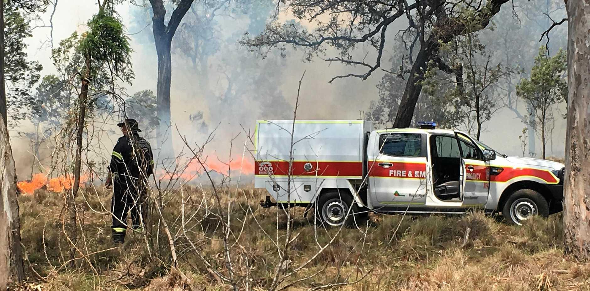 Crews fight a grass fire at Memerambi on November 28, 2018.