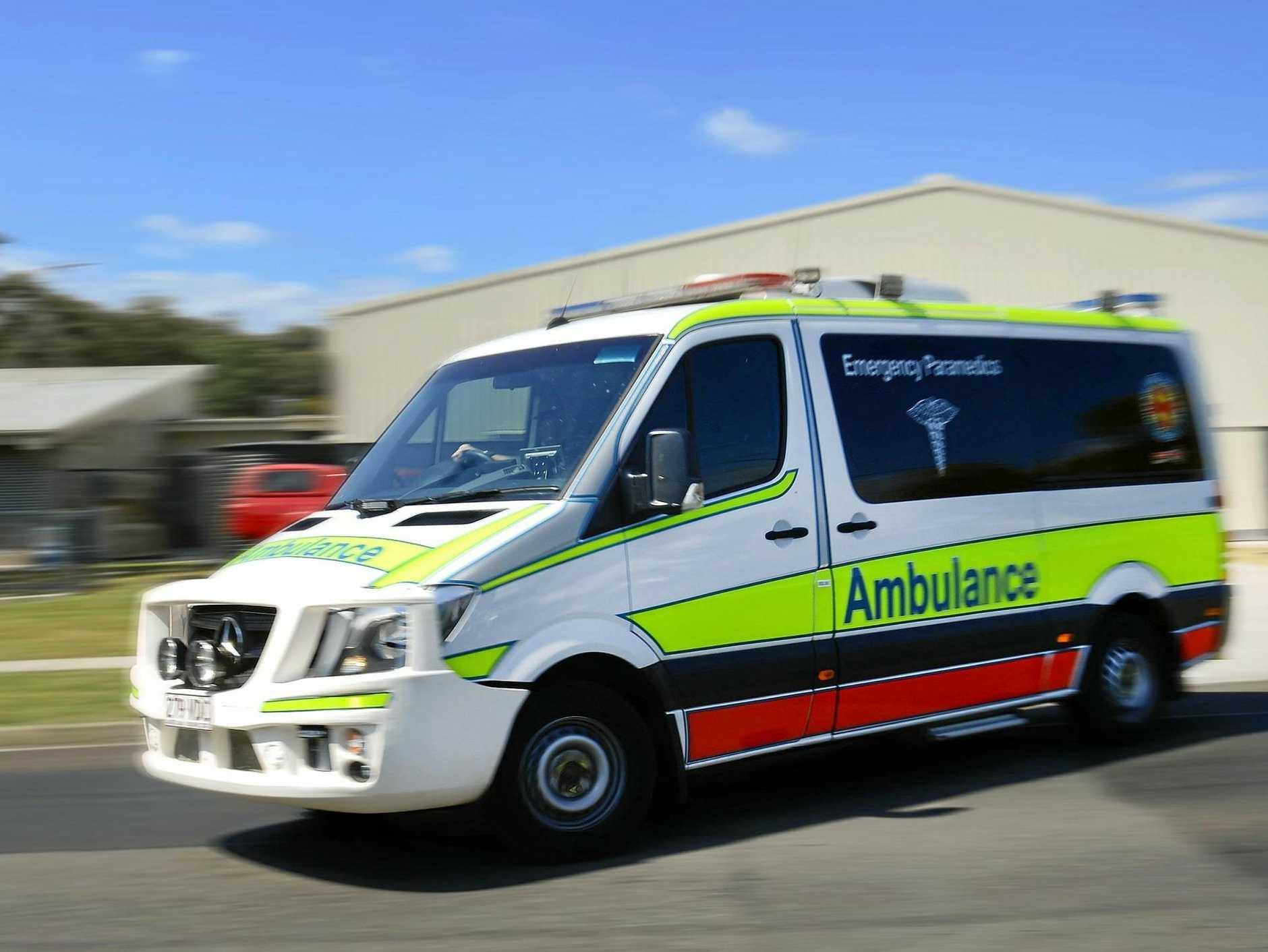 Paramedics have rushed to a location at Maleny where a man has suffered injuries from falling 3 metres from a ladder.