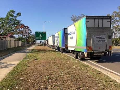 STUCK TRUCKS:  Over 200 trucks were forced to spend the night on the side of the highway near Calliope on Wednesday night.