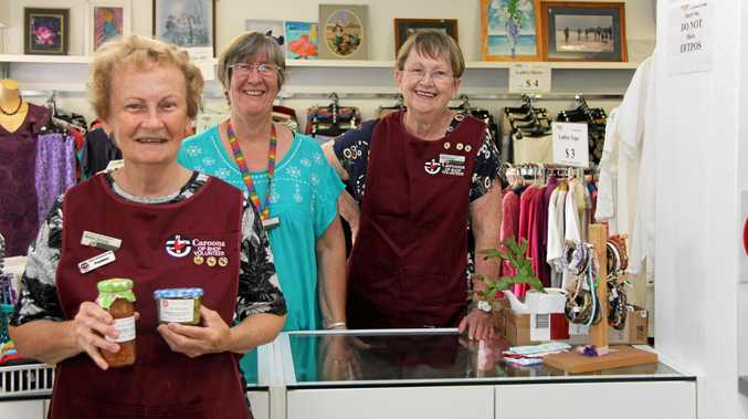 COMMUNITY SUPPORT: Caroona Lismore Op Shop president Mollie Strong with stalwart volunteers Coral Irwin and Rita Strong, at the Keen St space are keen to welcome new members to their organisation.
