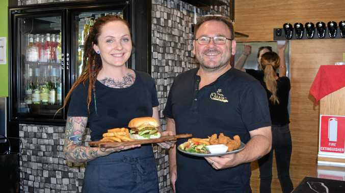 NEW BUSINESS: Kelsey Wood and Mark Di Ruggiero, owner of Oasis Bar and Cafe, Biloela.