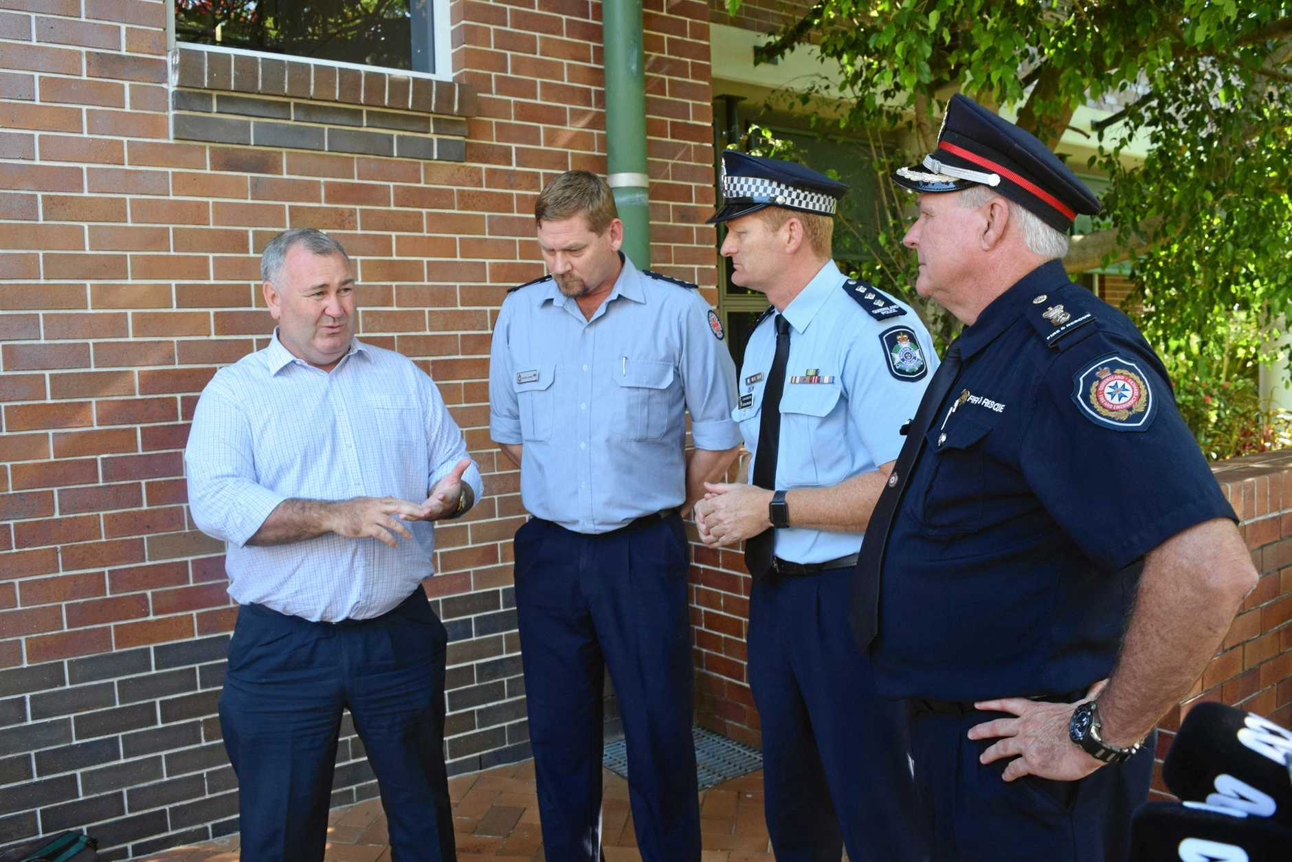 WINFIELD FIRE: Mayor Jack Dempsey, QAS Chief Superintendent Russell Cooke, Acting Inspector Glenn Cameron and QFES Acting Superintendent Ron Higgins.
