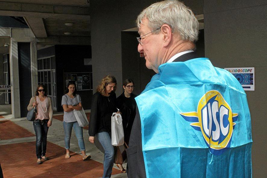 USC Vice-Chancellor Professor Greg Hill donned a USC superhero cape for the annual Imaginarium and Open Day.