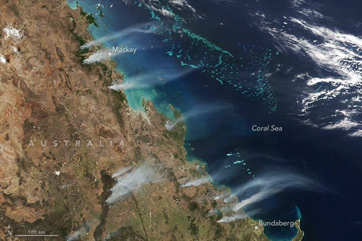 Photos from space have confirmed the overwhelming scale of this week's catastrophic bushfires in Queensland.