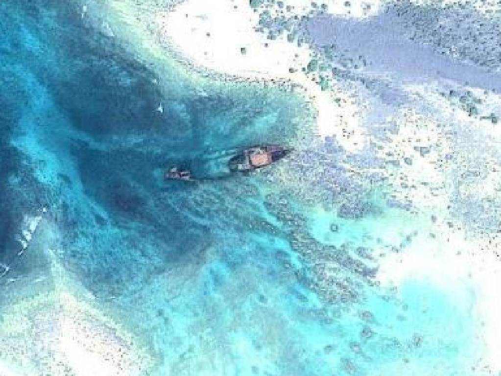 An aerial view of The Primrose shipwreck resting a few hundred metres off North Sentinel Island. Picture: Facebook