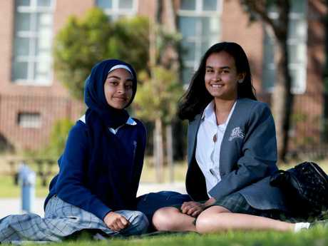 Aisheeya Huq, 16, (right) and Rifah Ahmed, 16, from Auburn Girls High School, plan to attend the climate change protest. Picture: Toby Zerna
