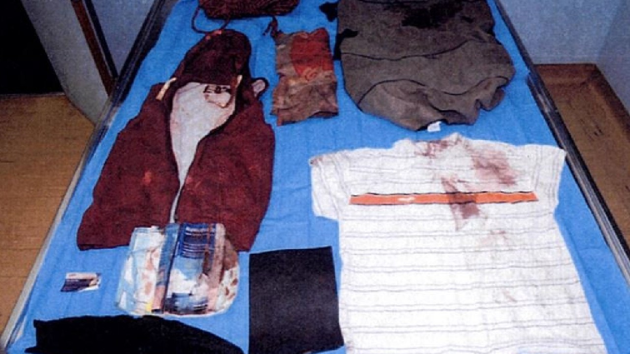Bloodstained clothing seized by police after Raquel Hutchison's ex-husband's body was found dumped near Wiseman's Ferry.